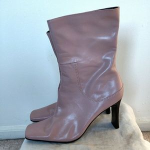 Nine West Dusty Pink Leather Square Toe Boots 8.5